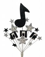 Music notes 80th birthday cake topper decoration in black and silver - free postage